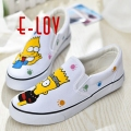 New 2017 spring summer outdoor casual hand painted men canvas shoes female personalized doodle shoes cartoon loafers