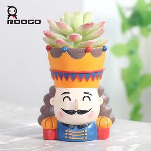 Image 1 - Горшочки для суккулентов ROOGO Щелкунчик в форме цветка, горшочки для суккулентов, Европейский ретро мультяшный персонаж, домашний декор, сад, гостиная, балкон