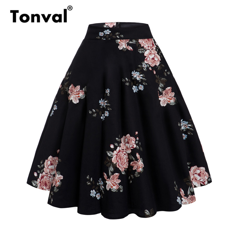Tonval Peony Floral Vintage A Line Black Flare Swing Skirts Womens Summer Plus Size Cotton 50S Retro Skater Skirt