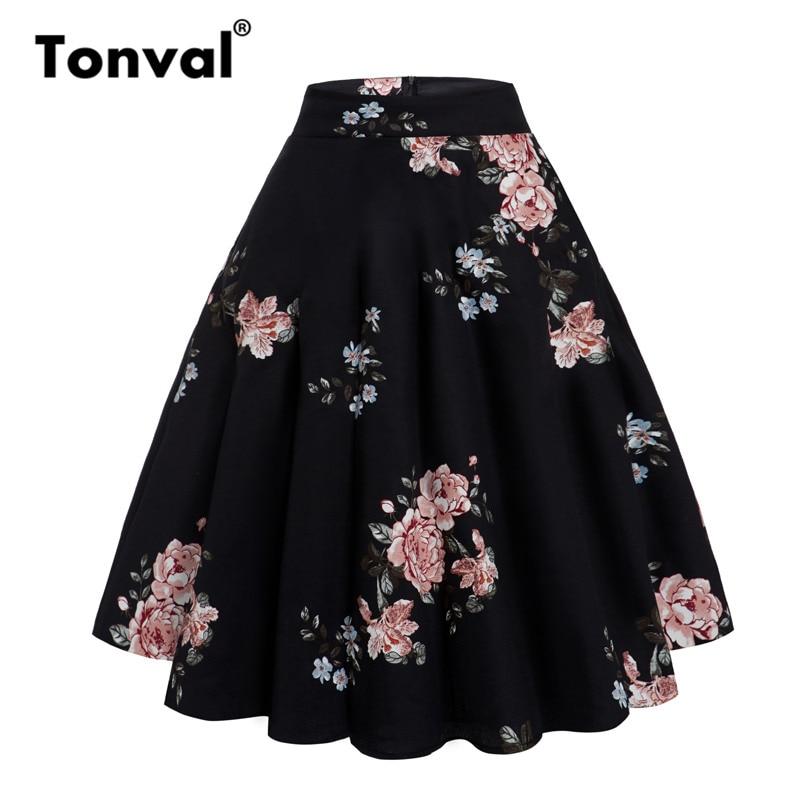 Tonval Peony Flower Vintage A Line Skirt Black High Waist Summer Flare Skirts Women Cotton Floral Skater Skirt