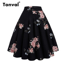 Tonval saia balanço preta peony floral feminina, saia retrô algodão plus size 50s