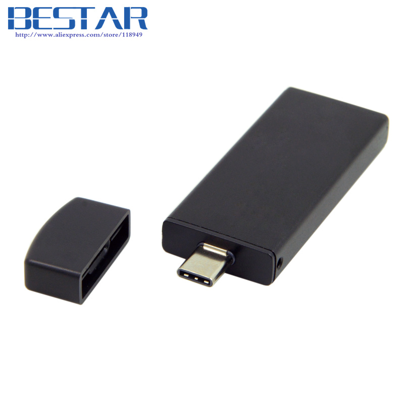 Black & Silver color 42mm NGFF M2 2 Lane SSD to USB 3.1 Type-C USB-C External PCBA Adapter Card Flash Disk Type