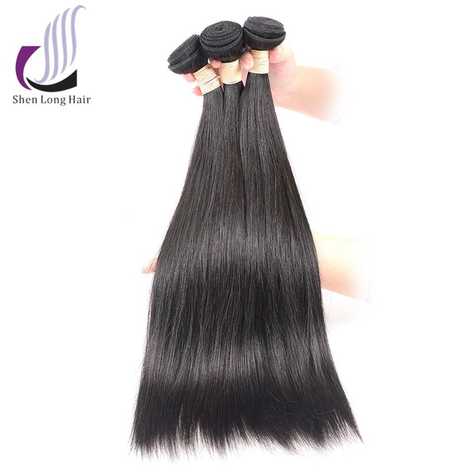 SHEN LANGE Braziliaanse Steil Haar Weave Bundels 100% Human Hair 1 stks Natuurlijke Niet Remy Hair Extensions 3 of 4 bundels Kan Kopen