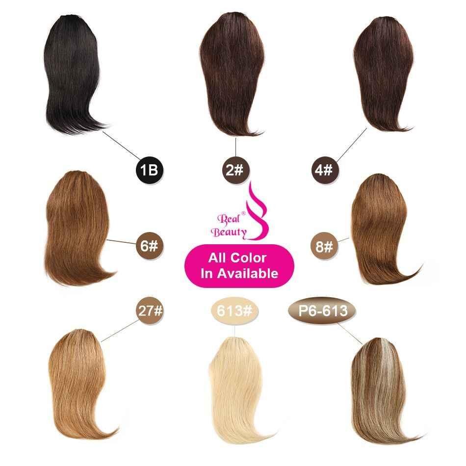 Настоящая красота прямые человеческие волосы заколки китайские волосы remy расширение челки 20 грамм натуральный черный 100% натуральный бахрома