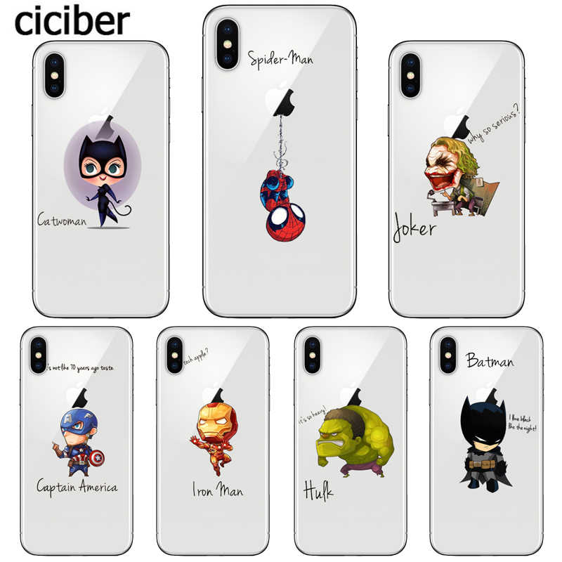 ciciber Marvel Spiderman Phone Cases for iPhone 11 Pro Max Cover For iPhone XR 8 7 6 6S Plus X XS Max 5S SE Soft TPU Shell Coque
