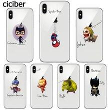 лучшая цена Marvel DC Funny Spiderman Joker Catwoman Batman Case for iphone X 6 6S 8 7 PLUS 5S 5 SE 10 Silicone Soft Cover Fundas Capinha