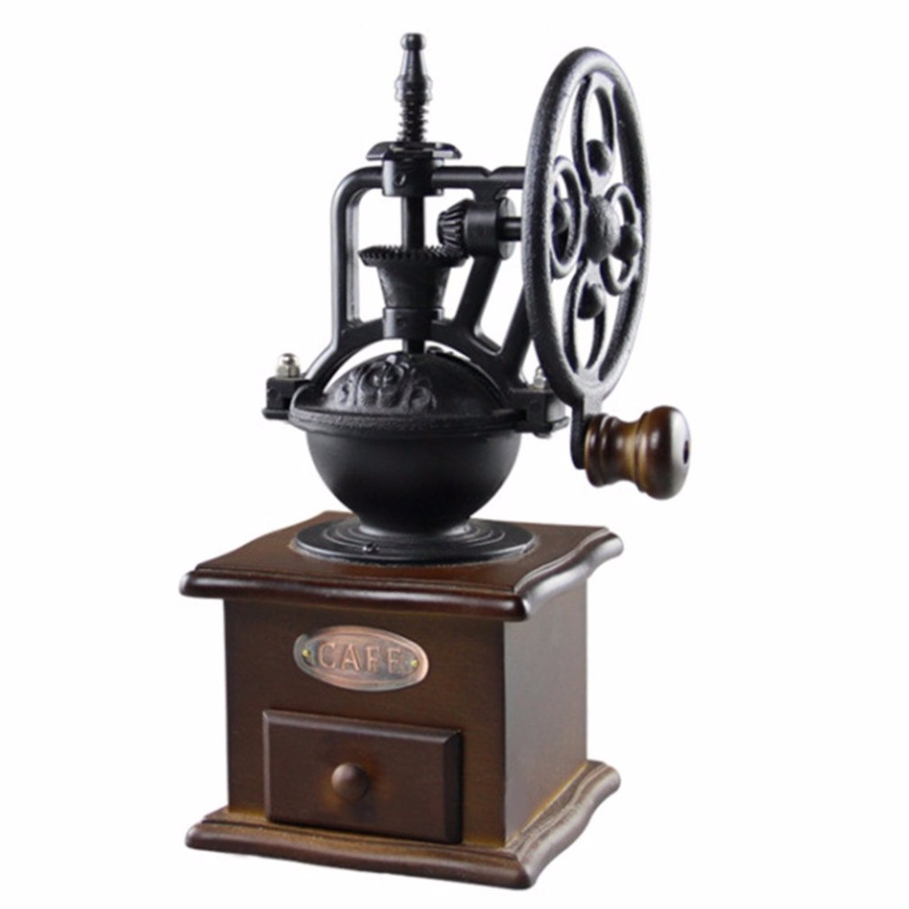 Vintage Style Manual Coffee Grinder Wooden Household Coffee Bean Mill Grinding Ferris Wheel Design Hand Coffee Maker Machine цена и фото