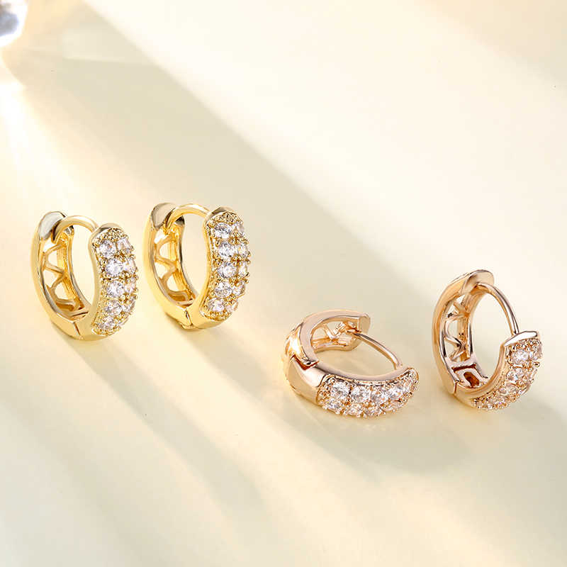CARSINEL Thương Hiệu Rose gold màu Hoop Earrings Đối Với Phụ Nữ Đảng Wedding Cubic Zircon Đá Bông Tai Đồ Trang Sức Cổ Điển ER0559