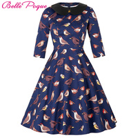 50s 60s Women Vintage Swing Dress 2016 Doll Collar Elegant Tunic Half Sleeve Retro Vestidos Casual