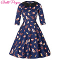 50s 60s Women Vintage Swing Dress 2016 Doll Collar Elegant Tunic Half Sleeve Retro Vestidos Casual Rockabilly Summer Dresses