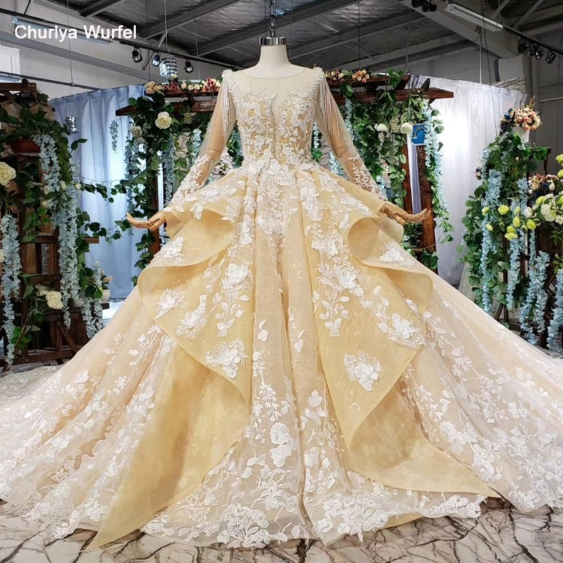 Htl538 Champagne Wedding Dress Plus Size O Neck Long Sleeves