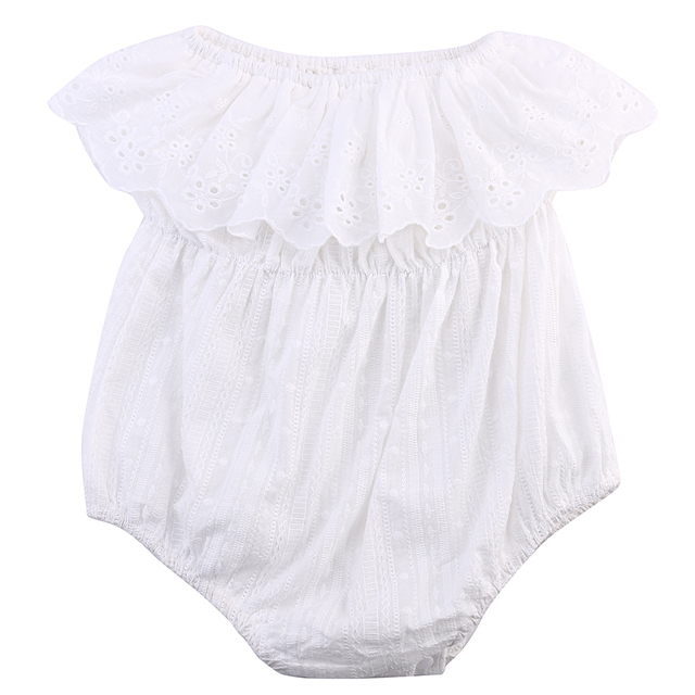 ca6d0d87725f One piece Newborn Baby Girl Kids Clothes Hollow out lace Off ...