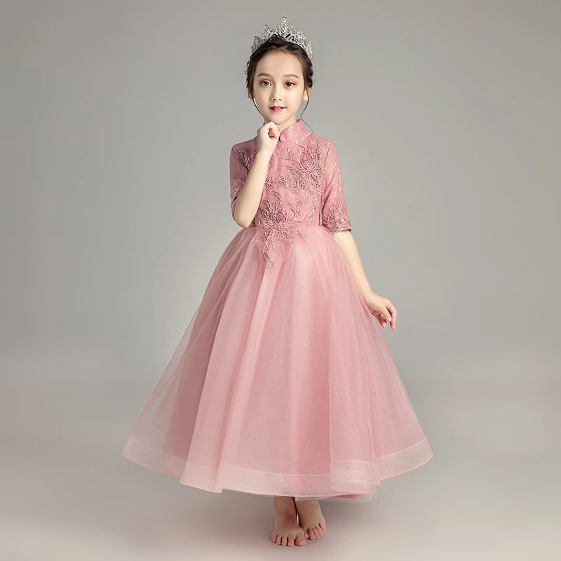 Children Girls Elegant Autumn New Half Sleeves Pink Lace Birthday Wedding Party Long Mesh Dress Kids Teens Host Pageant Dress pink lace up design cold shoulder long sleeves hoodie dress