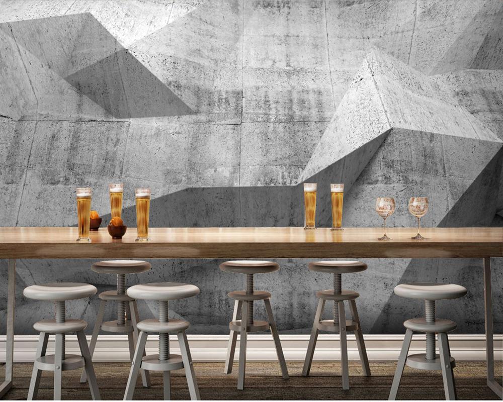 Benutzerdefinierte 3d papel DE parede, beton wandmalereien für bar ...