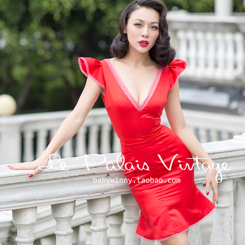 FREE SHIPPING Le Palais Vintage 2016 Summer New Arrival Red Low Cut V Neck Lace Edge