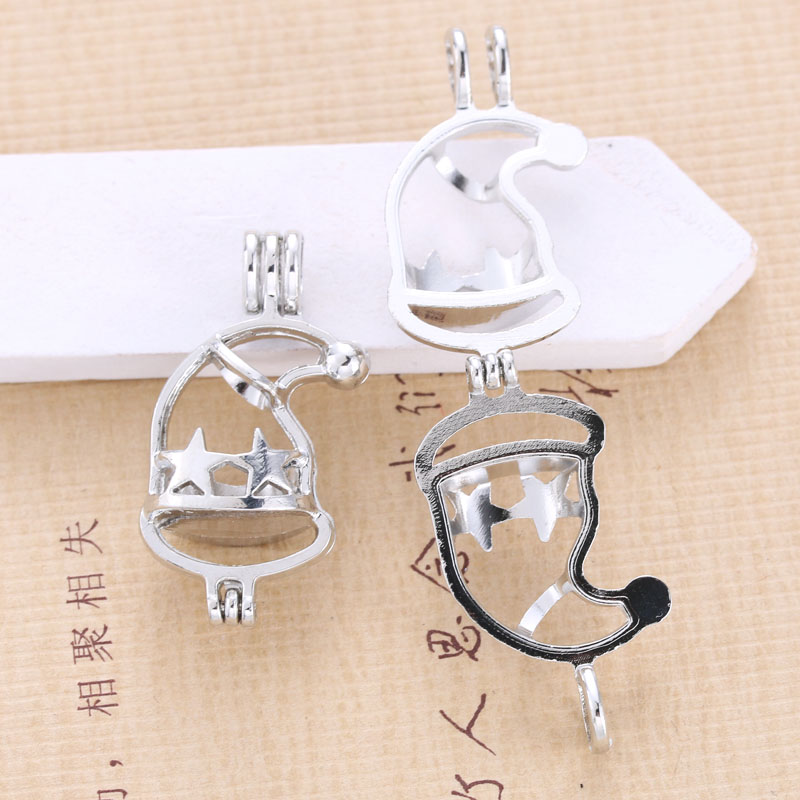 5pcs Silver Christmas Hat Pearl Cage Pendant Jewelry Aromatherapy Essential Oil Diffuser DIY Necklace OysterPearl Christmas Gift