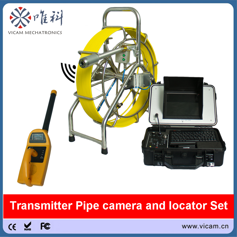 Vicam Underground Pipe inspection equipment 60m 7mm rigid push rod sewer drain video camera with 512hz