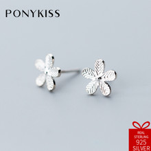 PONYKISS Romantic S925 Sterling Silver Chic Minimalist Flower Stud Earrings For Women Party Anniversary Jewelry Engagement(China)