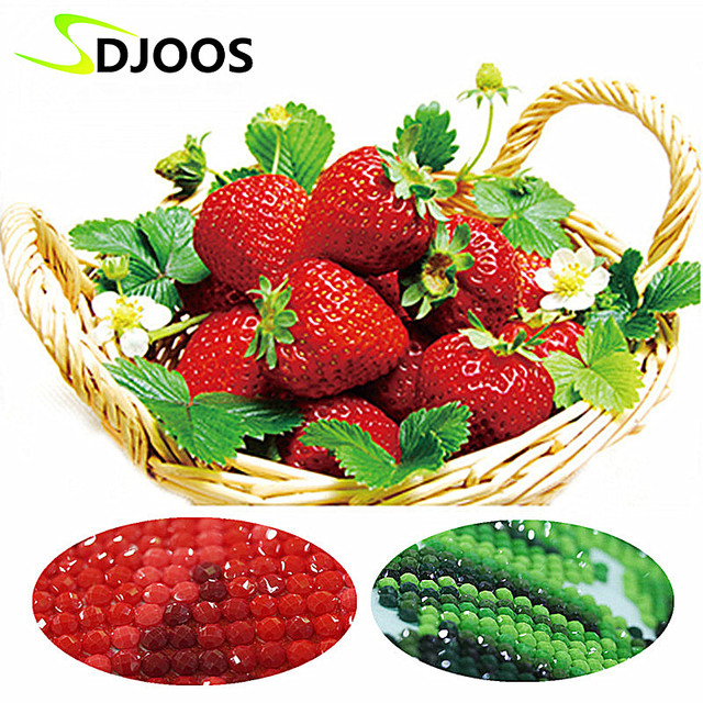 5d Strawberry Fruit Basket Diamond Embroidery Painting By Numbers ...
