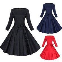 Новая Мода Стиль Женщины Dress Чистый Цвет Большой Ярдов Женский Dress Свободный Досуг Длинные Рукава Bubble Dress LB