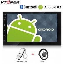 Автомобильное радио Vtopek Android 7 HD Автомобильный мультимедийный плеер с сенсорным экраном GPS навигация Bluetooth зеркало Ссылка FM 1024*600 вид сзади