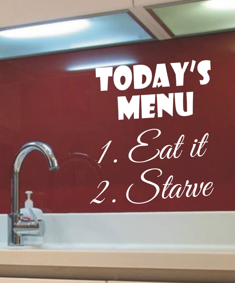 todays menu 1take it 2starve funny kitchen wall art sticker wall decals quote 3 sizes 40 colors available in wall stickers from home garden on - Funny Kitchen Quotes