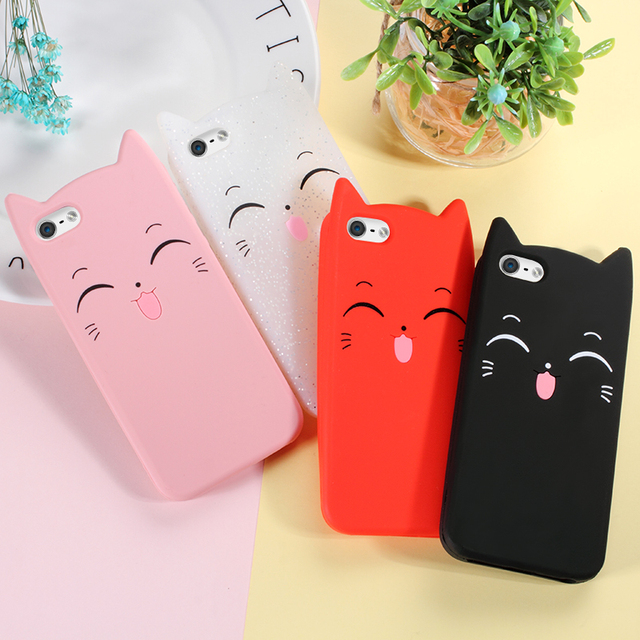 DULCII For iPhone 6 6s Plus 5 5s SE Case 3D Moustache Cat Back Phone Cover for Apple iPhone X 10 8 7 Plus Case Black Red Pink