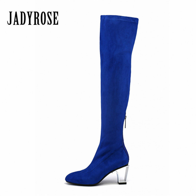 Jady Rose Blue Over the Knee Boots Women Stretch Fabric Thigh High Boots 7CM High Heel Long Boot Sexy Slim Fit Shoes Woman fashion blue denim boots women over the knee boots point toe sexy belt decor crystal thigh high boot cowboy high heel long botas