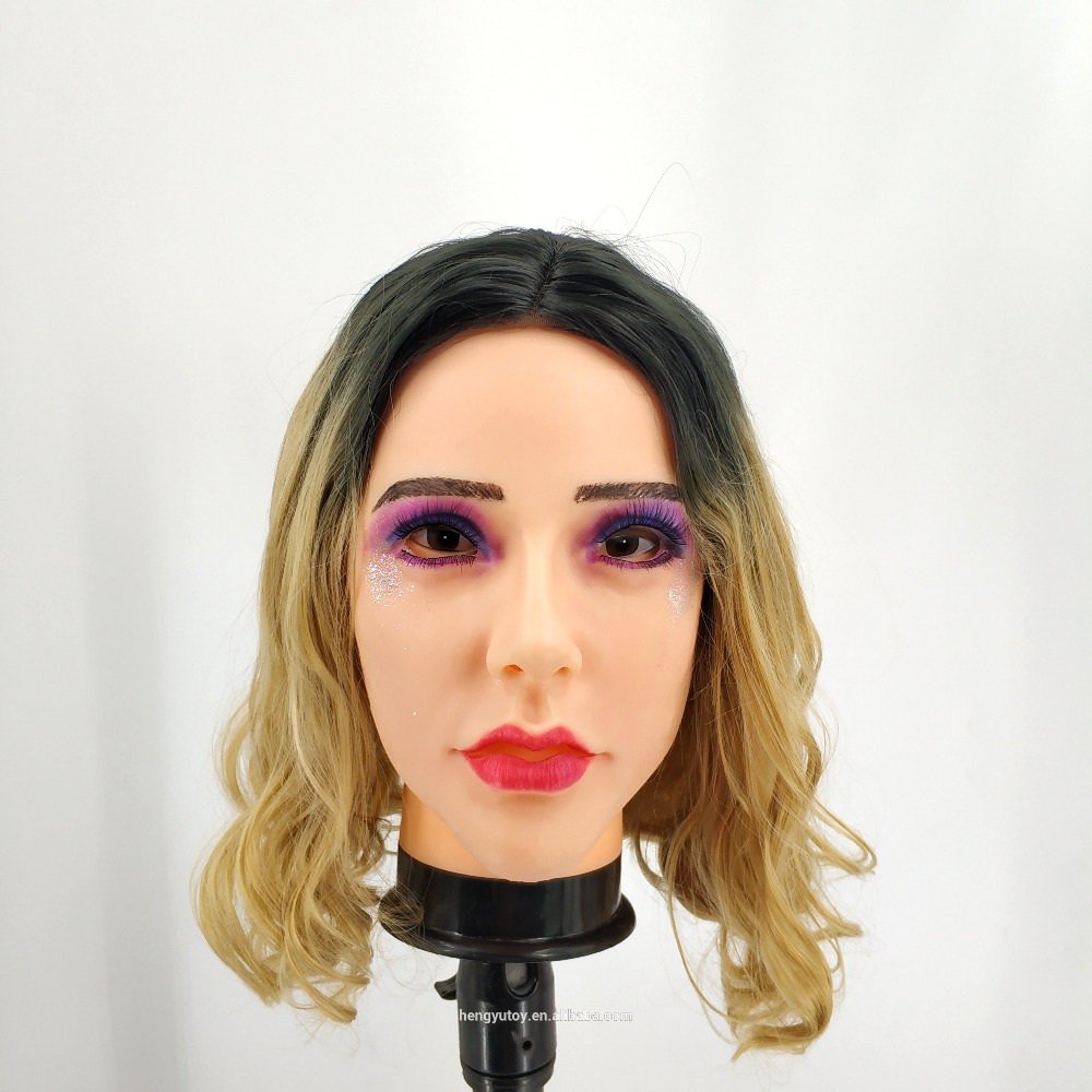 Realistic Cosplay Costume Party Halloween Wonderful Pretty Woman Silicone Female Mask for Male Dress up