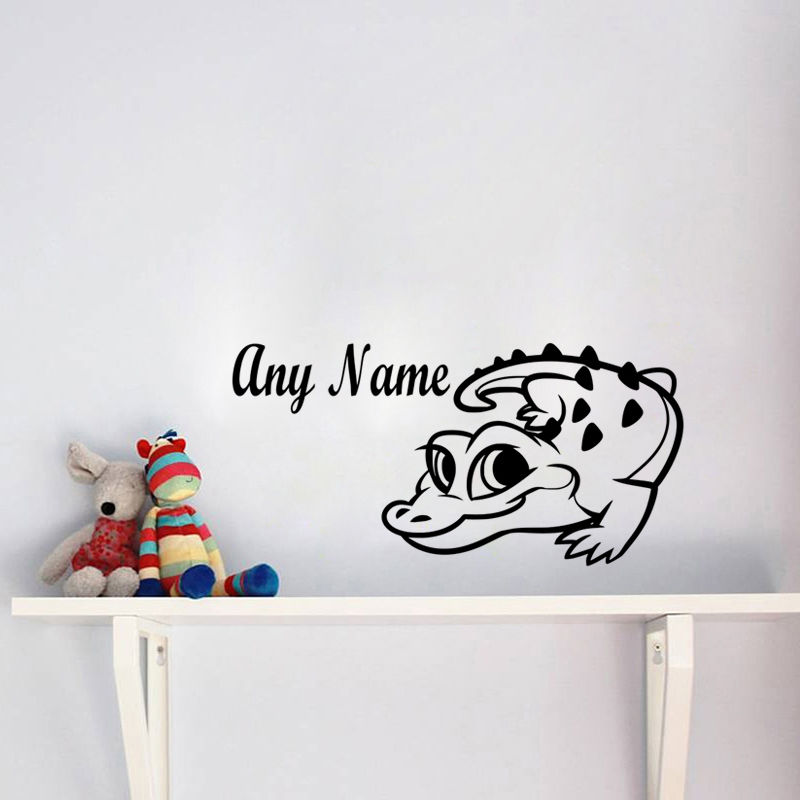 Custom Kid Name Wall Decals Boys Bedroom Baby Crocodile Vinyl Wall Sticker Home Decor Living Room Perfect Quality Decal ZA579