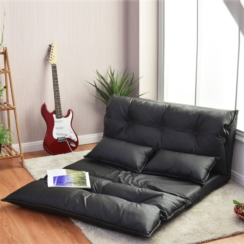 Foldable PU Leather Leisure Floor Sofa Bed W/ 2 Pillows Stylish Comfortable Adjustable Design Black Sofa Bed Furniture HW58030 image