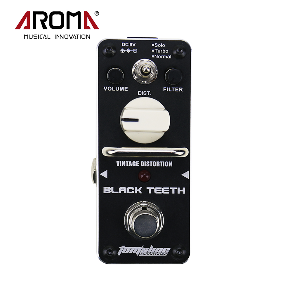 AROMA ABT-3 Black Teeth Vintage Distortion Electric Guitar Effect Pedal True Bypass Mini Single Guitarra Part sews aroma aov 3 ocean verb digital reverb electric guitar effect pedal mini single effect with true bypass