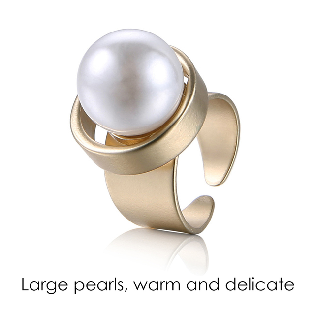 eManco Minimalist Geometric Statement Cuff Rings for Women Large Imitation Pearl Copper Gold Fashion Brand Jewelry