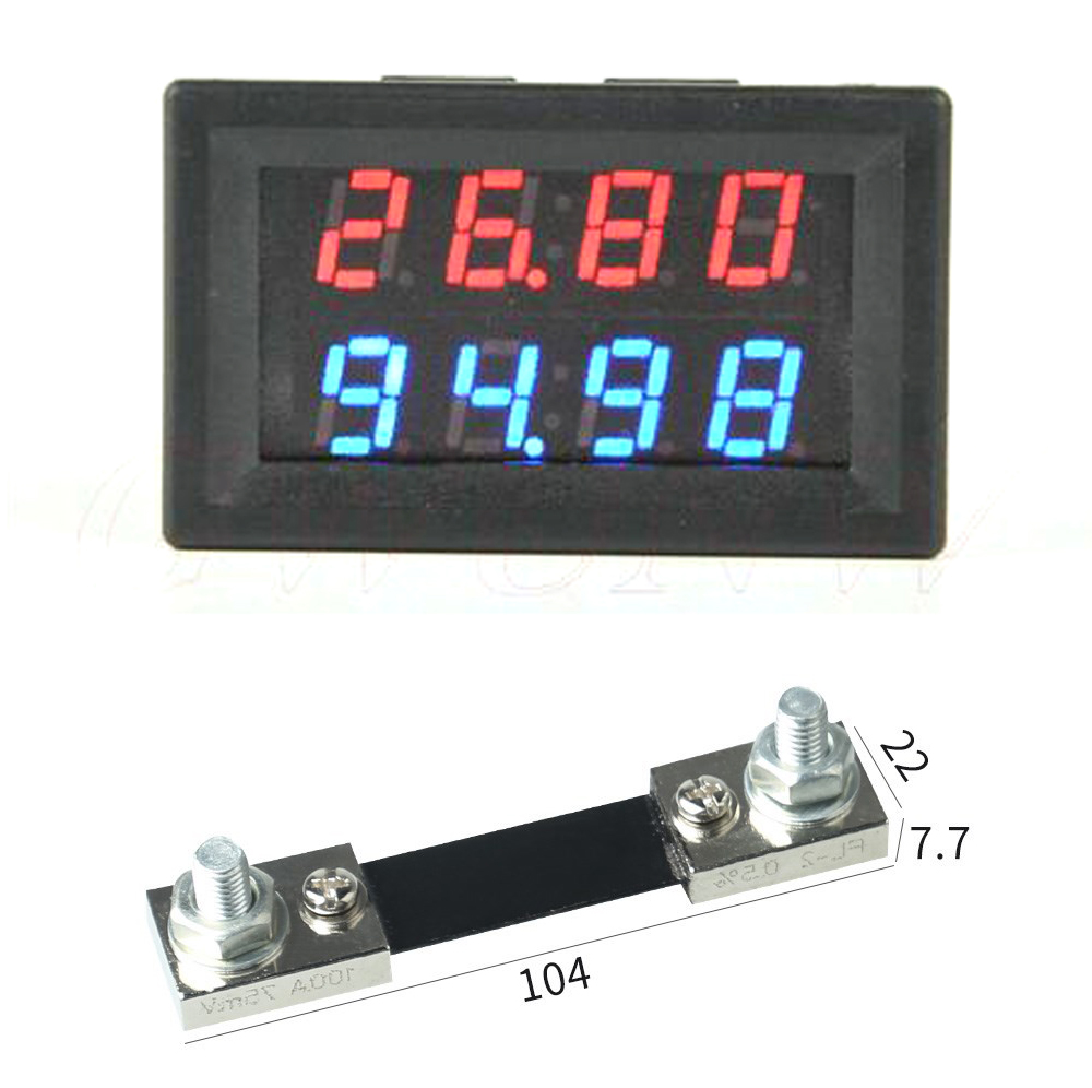 DYKB DC 0-200V 100A WITH 100A 75mV Shunt  Voltmeter Ammeter LED Dual Display For 12v 24v 5v Car Voltage Current Monitor Battery