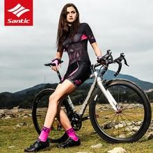 Santic Women's Cycling Shorts 4D Padded Cushion Mtb Road Bike Shorts Professional Shockproof Reflective Bicycle Shorts Ciclismo