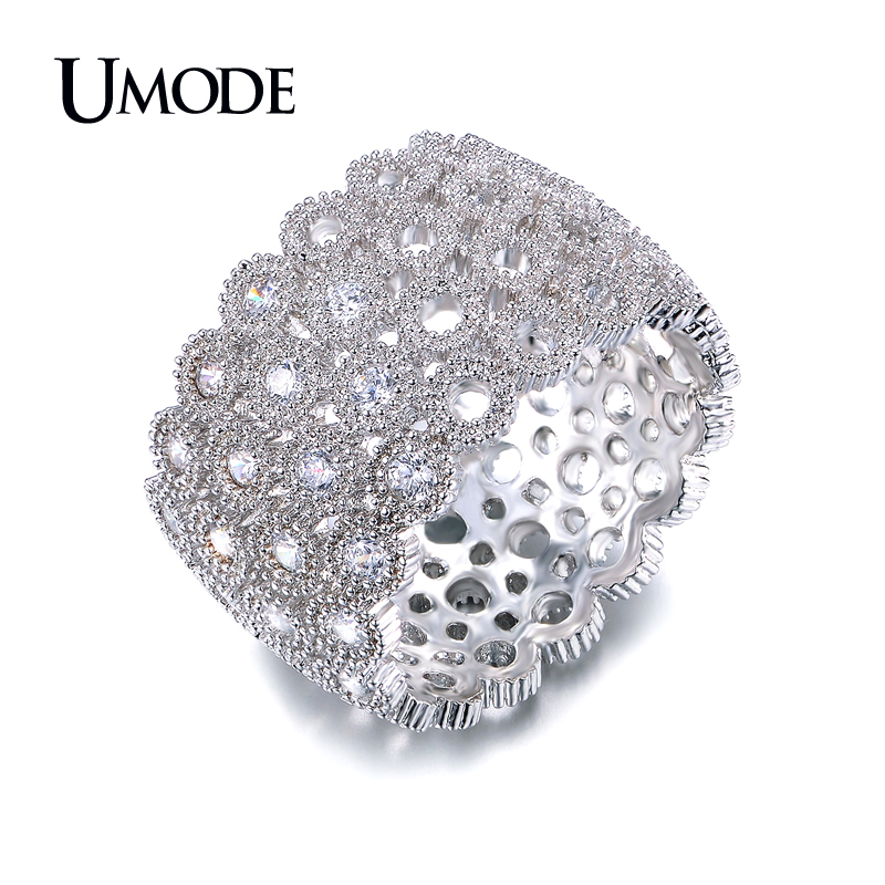 UMODE Phoebe Series 4 Rows of Circles Connected Micro CZ Half Round Inlaid Band Ring Rhodium Color Jewelry For Women UR0176B 6pcs of stylish color glazed round rings for women