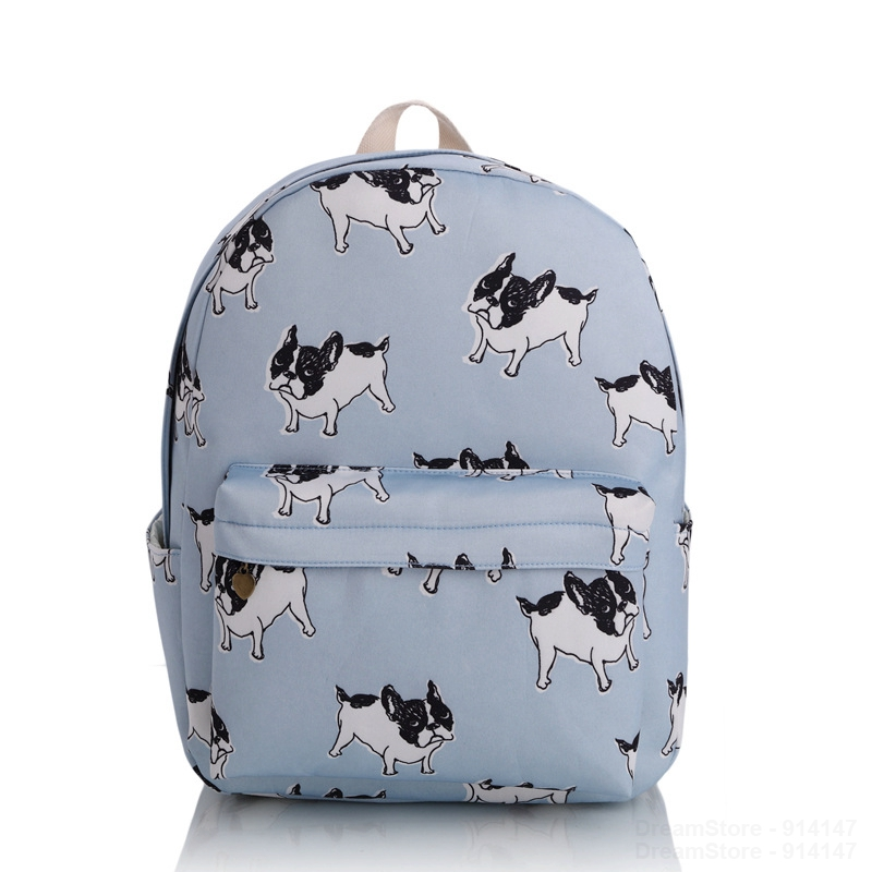 2017 Girls Women Cute Dog Canvas Backpacks School Backpack Rucksack Travel Bag Bookbag Character Pattern Charm