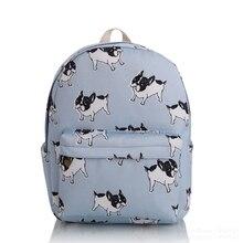 2017 Girls Women Cute Dog Canvas Backpacks School Backpack Rucksack Travel Bag Bookbag Character Pattern Charm Mochila New