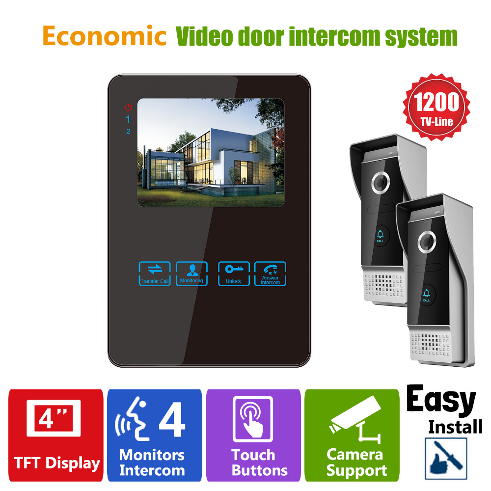 Homefong Luxury Video Door Phone Intercom System With 1200TVL Camera For Villa House 2V1 4 Inch Wired Doorbell Camera Entry Kit kdb300 2 4g wireless video door viewers phone wireless colour video door phone door camera intercom designed for villa design