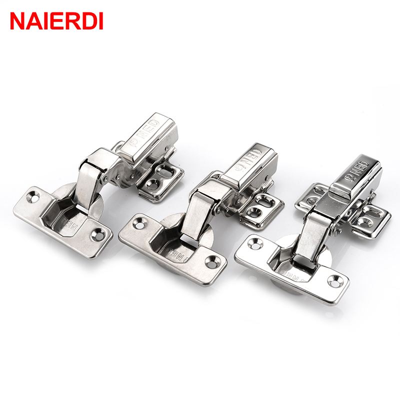 4PCS NAIERDI Hinges 304 Stainless Steel Pure Copper Hydraulic Damper Buffer Cabinet Cupboard Door Hinge For Furniture Hardware brand naierdi 90 degree corner fold cabinet door hinges 90 angle hinge hardware for home kitchen bathroom cupboard with screws