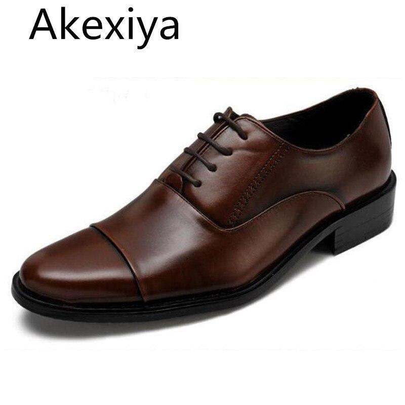 Akexiya Большой Размер 39-47 Мужчины Платье Обувь Кожа Узелок Передняя оксфорд Обувь Для Мужчин Острым Носом Мужчины Квартиры Моды для Мужчин Обувь