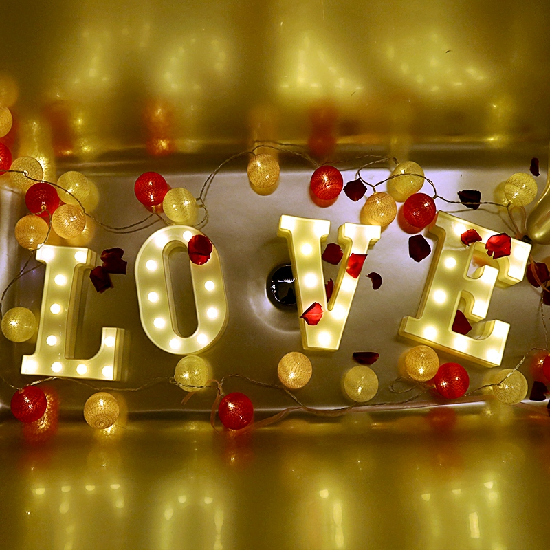 Luminous LED Letter Night Light 26 English Alphabet 0-9 Number Battery Lamp Romantic Wedding Brithday Party Decoration Christmas