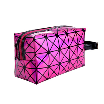 10 piece / pack Geometric Lingge 3D Diamond Pattern Package Large Capacity Laser Cosmetic Bag Woman Bags Support Drop shipping