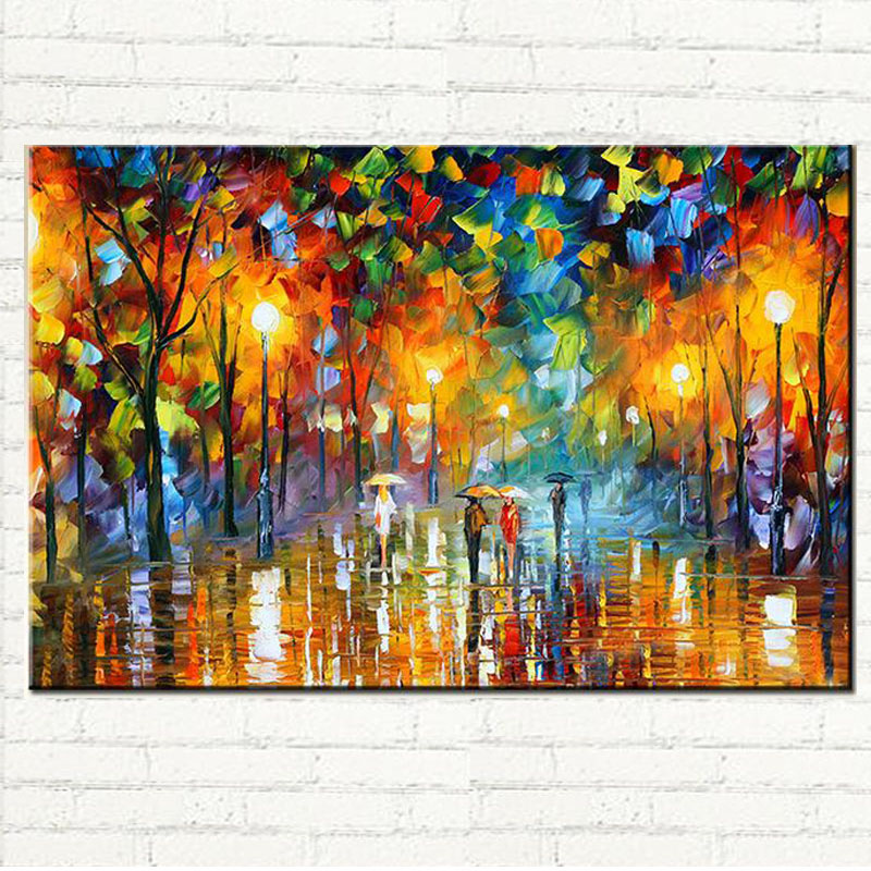 Landscape Oil Painting Lovers Rain Tree Tree Lamp On Canvas Wall Art Picture For Home Decoration Wall Decor 100% Hand Painted
