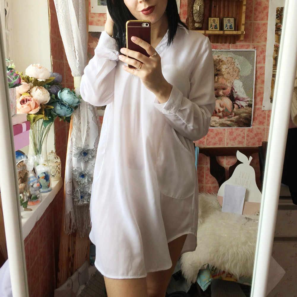 Anself 6XL модное осеннее повседневное шифоновое платье-рубашка с длинным рукавом сексуальное женское пляжное платье плюс размер Boho Платья Vestidos