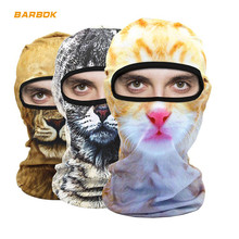 WOSAWE Motorcycle Balaclava 3D Face Mask Mens Outdoor Sports Windproof Head Cover Animal Pattern Motocross Moto