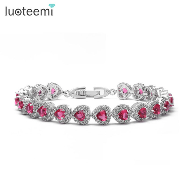 LUOTEEMI  4*4 Heart Shape CZ Tennis Bracelet for Women White Gold Plated Cubic Zirconia Luxury Jewelry Colorful CZ Lady Bracelet