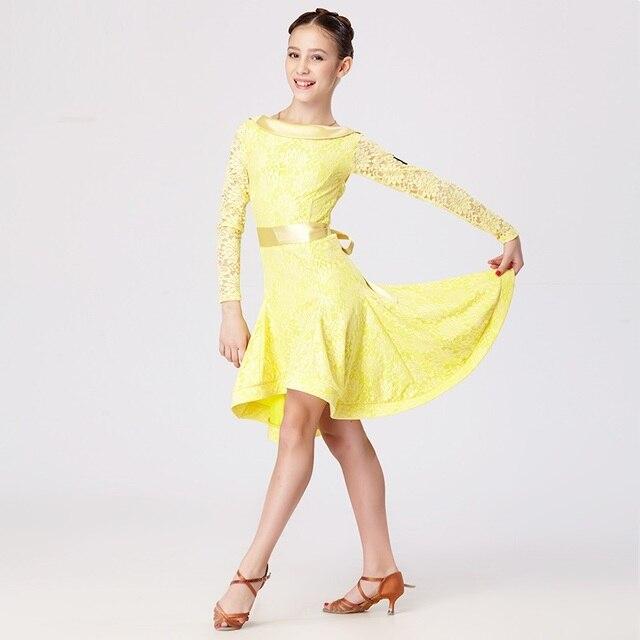 d4fe1b25a9182 Dentelle jaune enfants robe de danse latine pour les filles costumes de  danse moderne pour les
