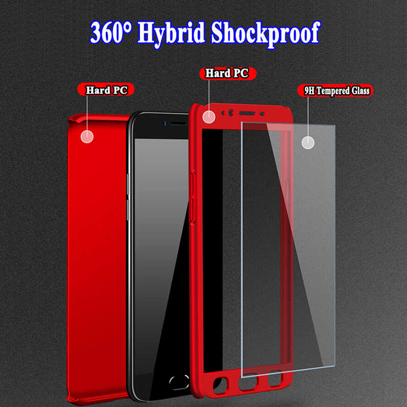 Shockproof 360 Degree Full Protective For Samsung Galaxy Note 4 Note4 Cover Hard PC Case + Free Tempered Glass Screen Protector
