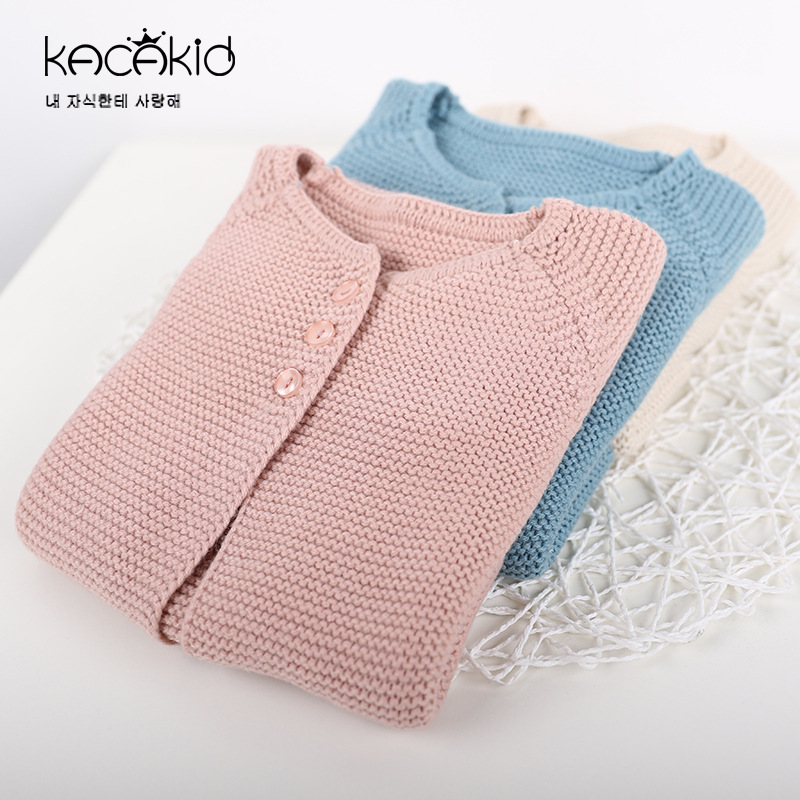 Fashion Baby Girls Clothes Children Plain Knitted Cardigan Infant Toddler Causal O-neck Outer Sweaters Baby Girl Boy Clothing цена 2017